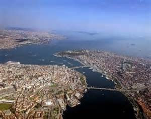 Aerial of Istanbul, Turkey and Bosporus Straight
