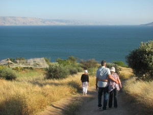 Walking down the Mt. of Beatitudes