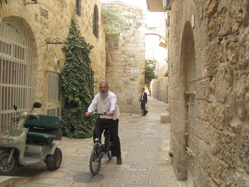 jewish man on bike jerusalem