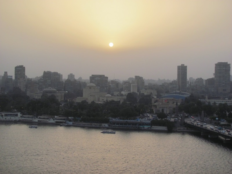 sunset on nile river cairo