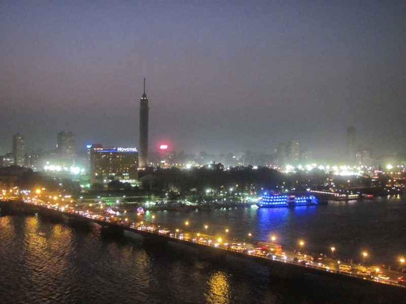 cairo and nile river at night