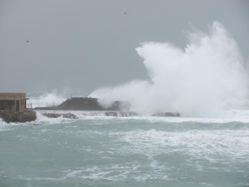 med sea waves crashing caesarea
