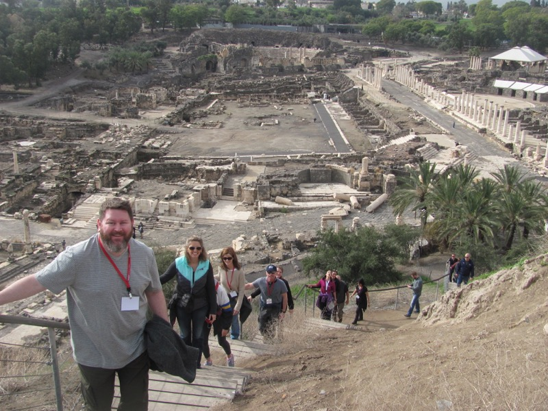 climbing steps at beth shean