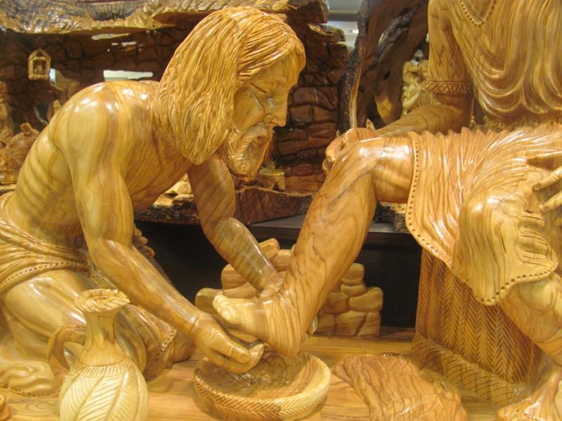 washing feet olive wood