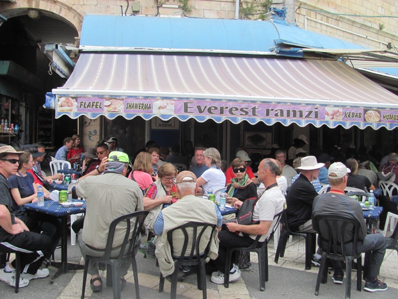 having lunch in old city jerusalem