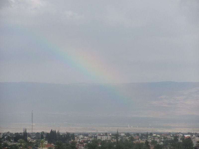 rainbow over qumran dead sea