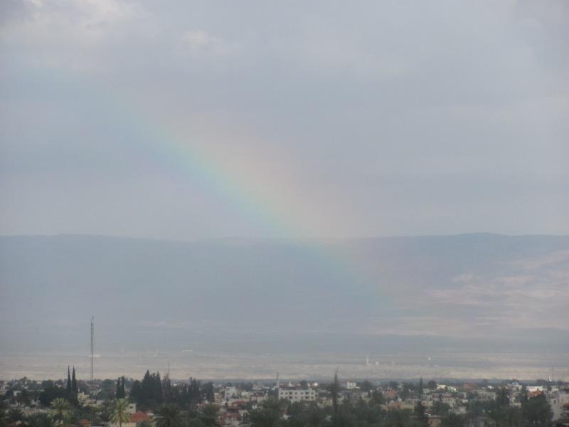 rainbow over qumran dead sea