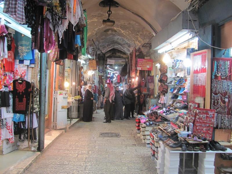 walking through old city via dolorosa