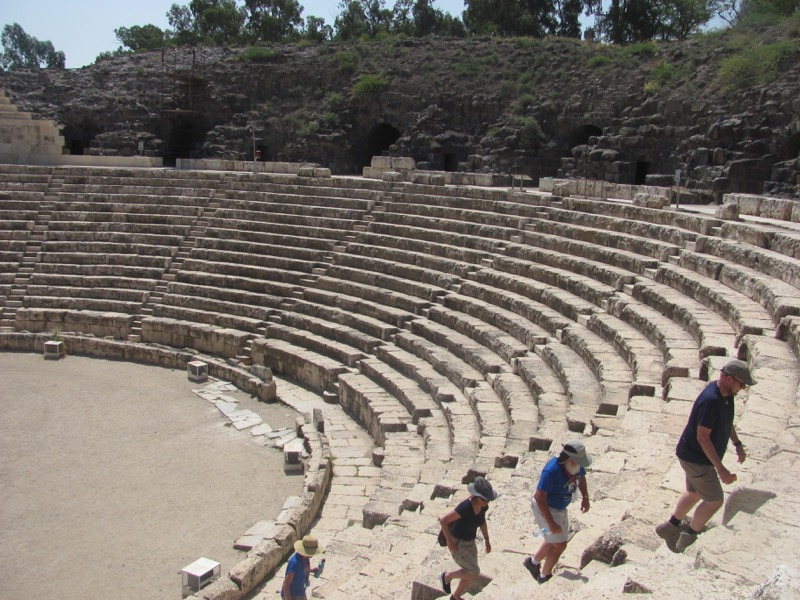 walking in the roman theater at beth shean