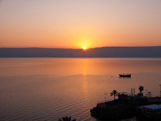 sunrise on the sea of galilee