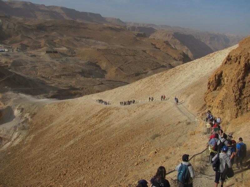 walking down roman ramp israel tour Masada