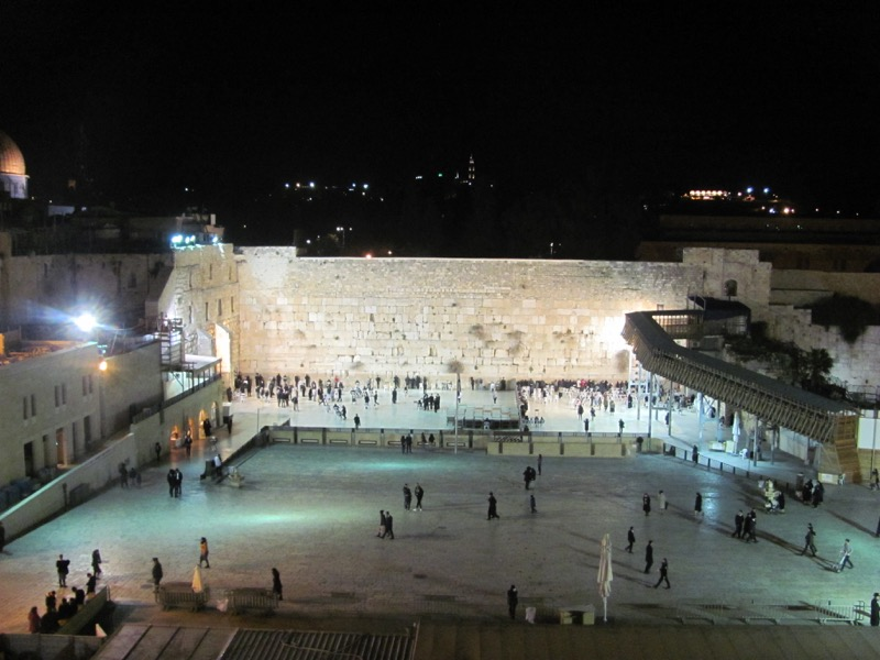 Western Wall at night Israel-Jordan Tour March 2017