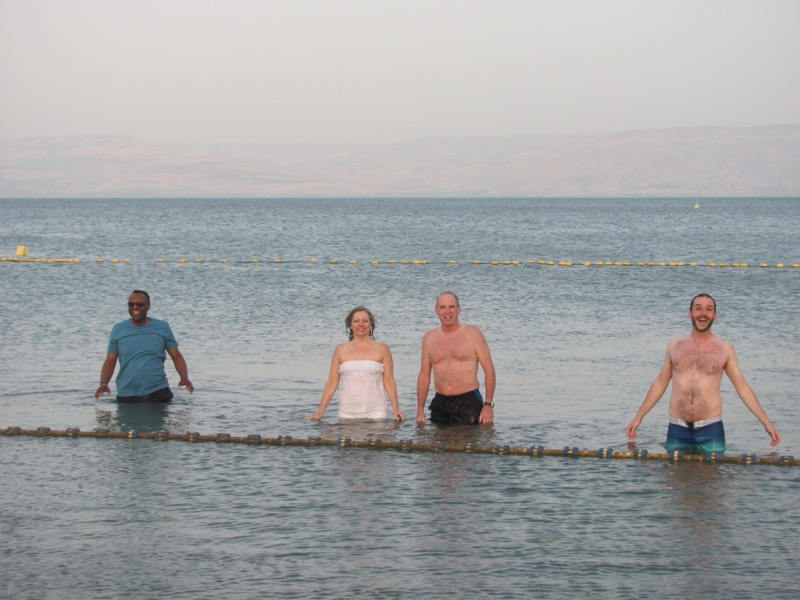 Swimming in Sea of Galilee April 2017 Israel Tour
