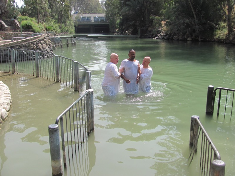 Baptism in Jordan River April 2017 Israel Tour