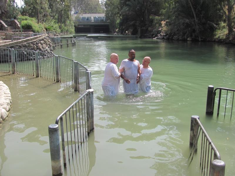Baptism in Jordan River April 2017 Israel Tour