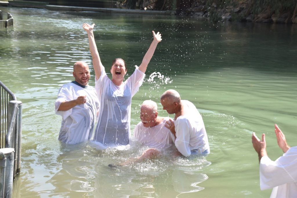 Baptism in Jordan River September 2017 Israel Tour