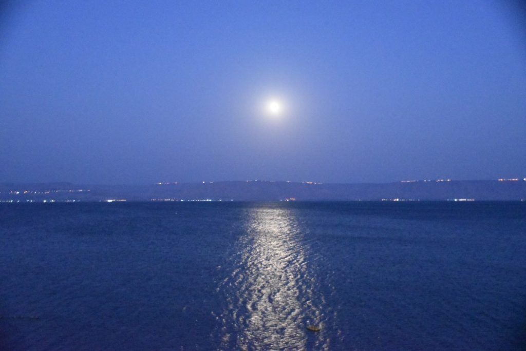 Moon over Sea of Galilee Sept 2017 Israel Tour
