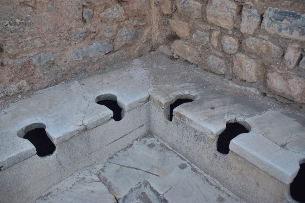 Ephesus toilets Turkey October 2017 Greece Tour - Dr. DeLancey