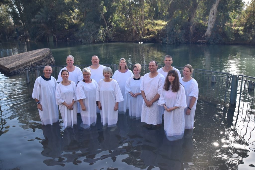 Yardenit Jordan River January 2018 Israel Tour Group with Dr. John DeLancey