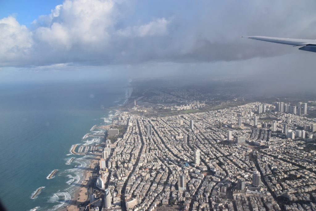 flying over Tel Aviv Israel January 2018 Israel Tour