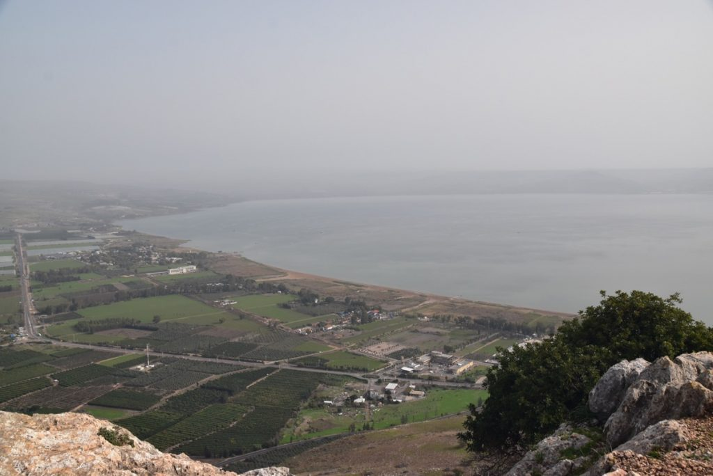 Sea of Galilee from Arbel cliff January 2018 Israel Tour