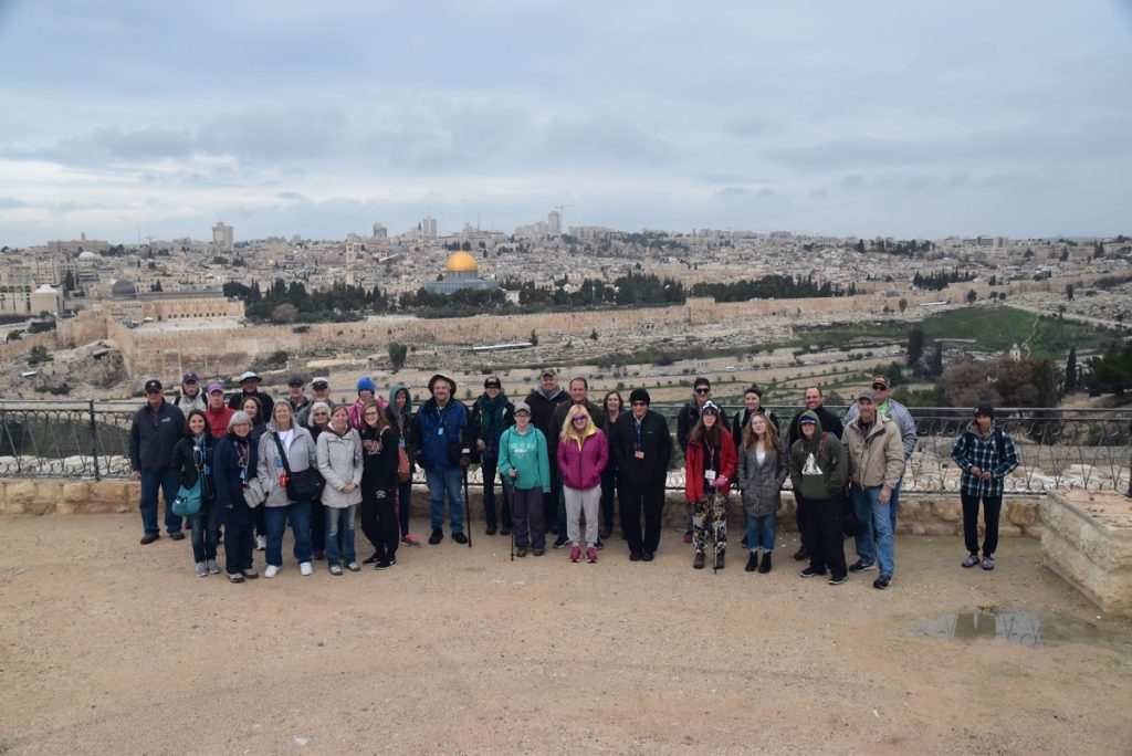 Jerusalem Mt. of Olives January 2018 Israel Tour Group with Dr. John DeLancey