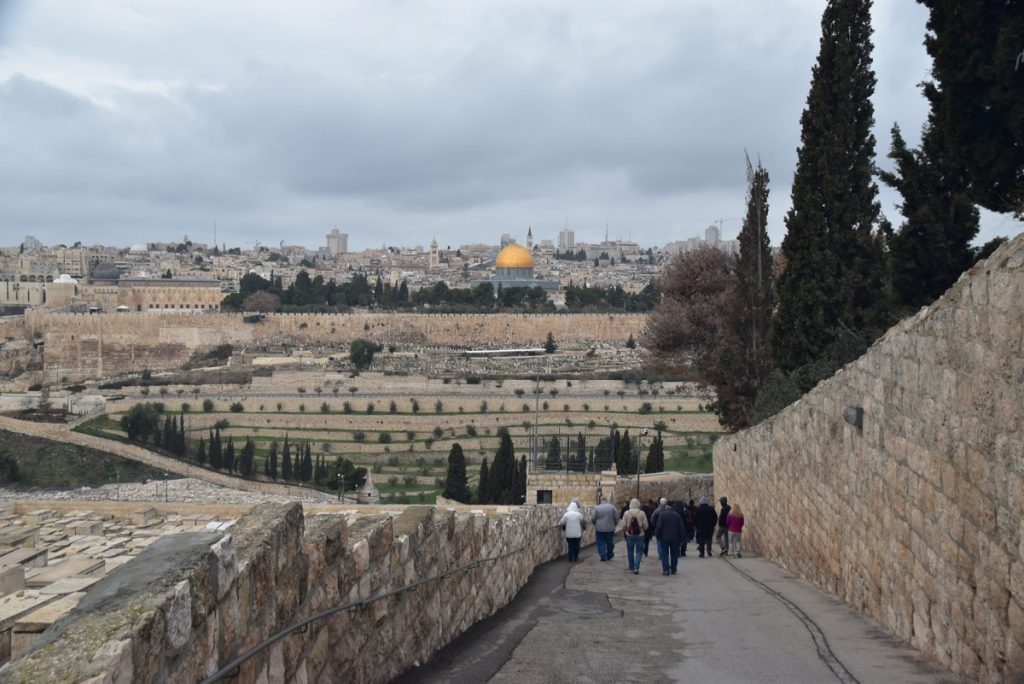 Jerusalem from Mt. of Olives Palm Sunday road January 2018 Israel Tour