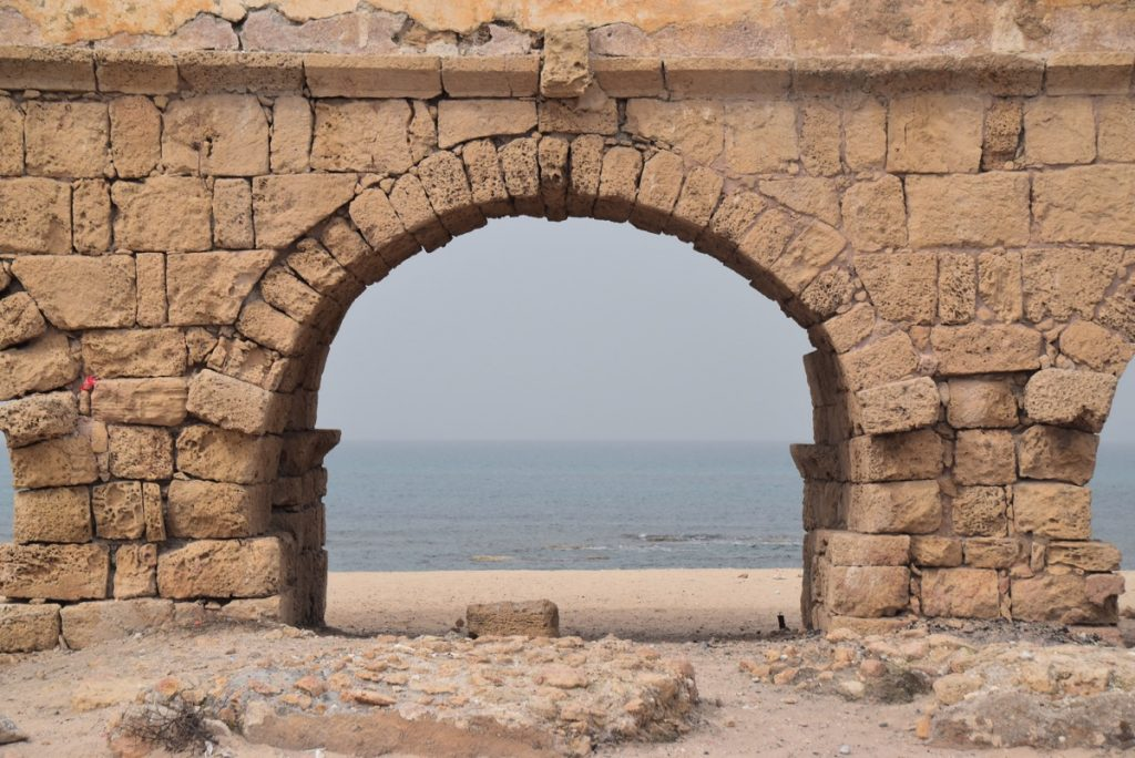 Caesarea aqueduct February 2018 Israel Tour with John DeLancey