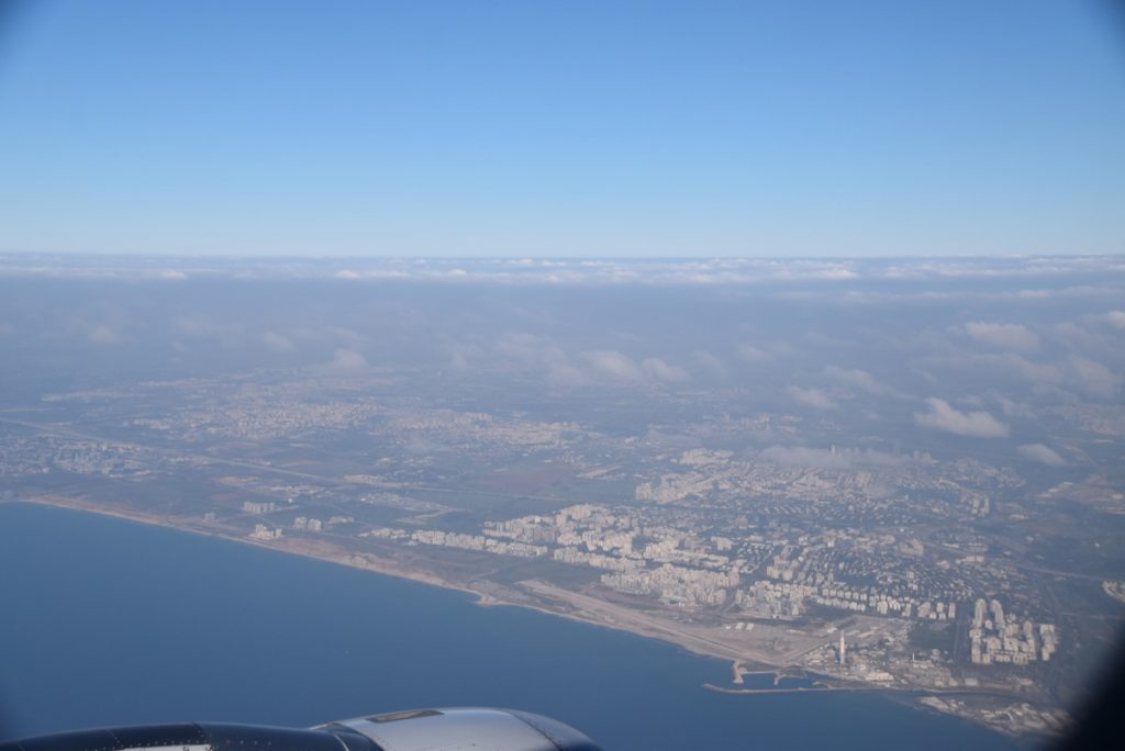 Flying into Israel - Tel Aviv coastline Israel Tour March 2018 with John DeLancey