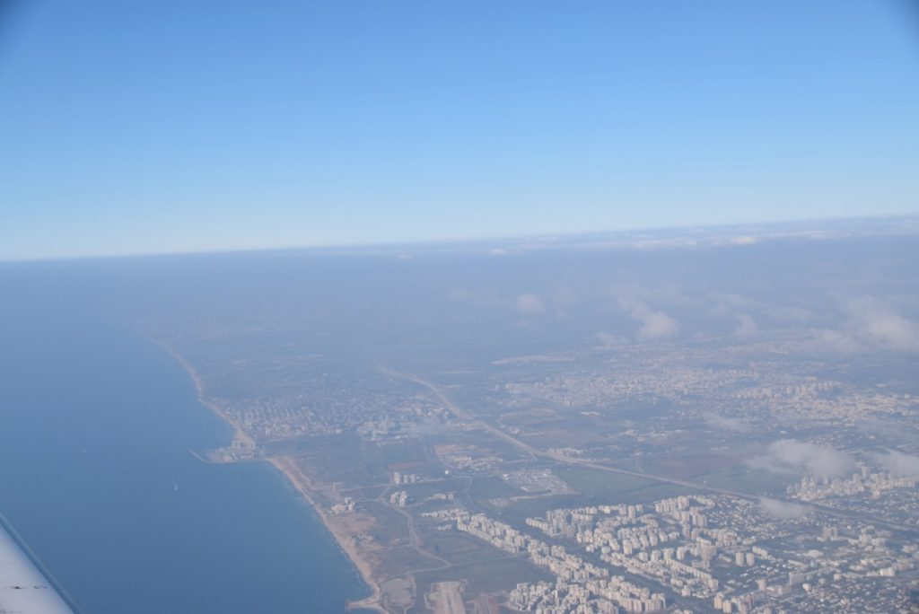 Flying into Israel - Tel Aviv coastline srael Tour March 2018 with John DeLancey