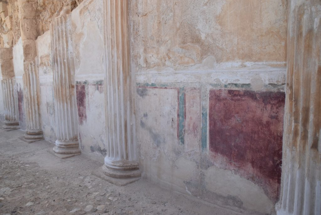 Masada northern palace fresco March 2018 Israel Tour with John DeLancey