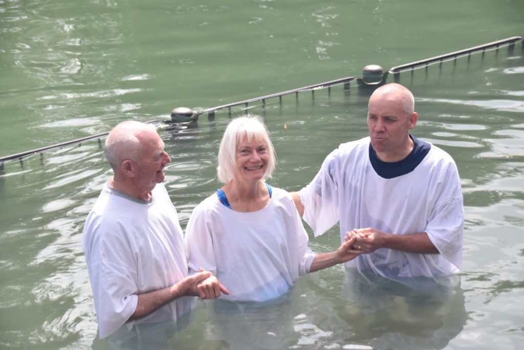 Jordan River baptism March 2018 Israel Tour with John DeLancey