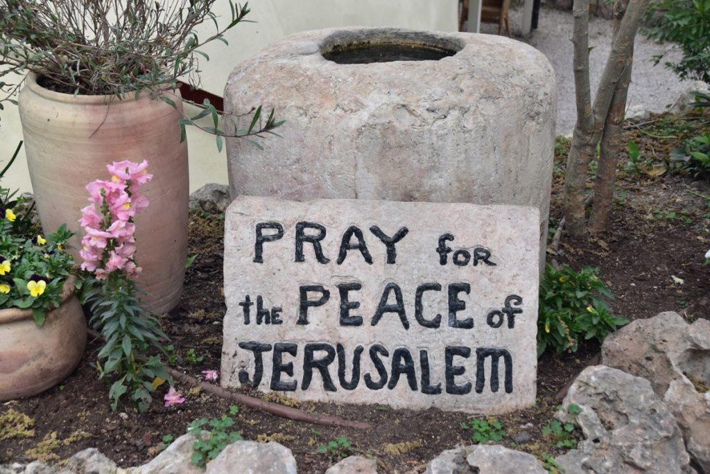 Garden Tomb Pray for the peace of Jerusalem March 2018 Israel Tour with John DeLancey