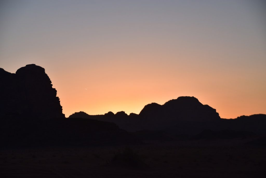 Wadi Rum sunset Jordan March 2018 Israel Tour with John DeLancey