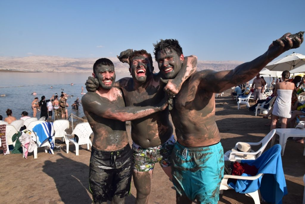Dead Sea mud May 2018 Israel Tour Dr. John DeLancey