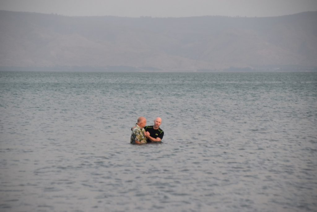 Baptism Sea of Galilee Orchard Hill Church Israel Tour October 2018