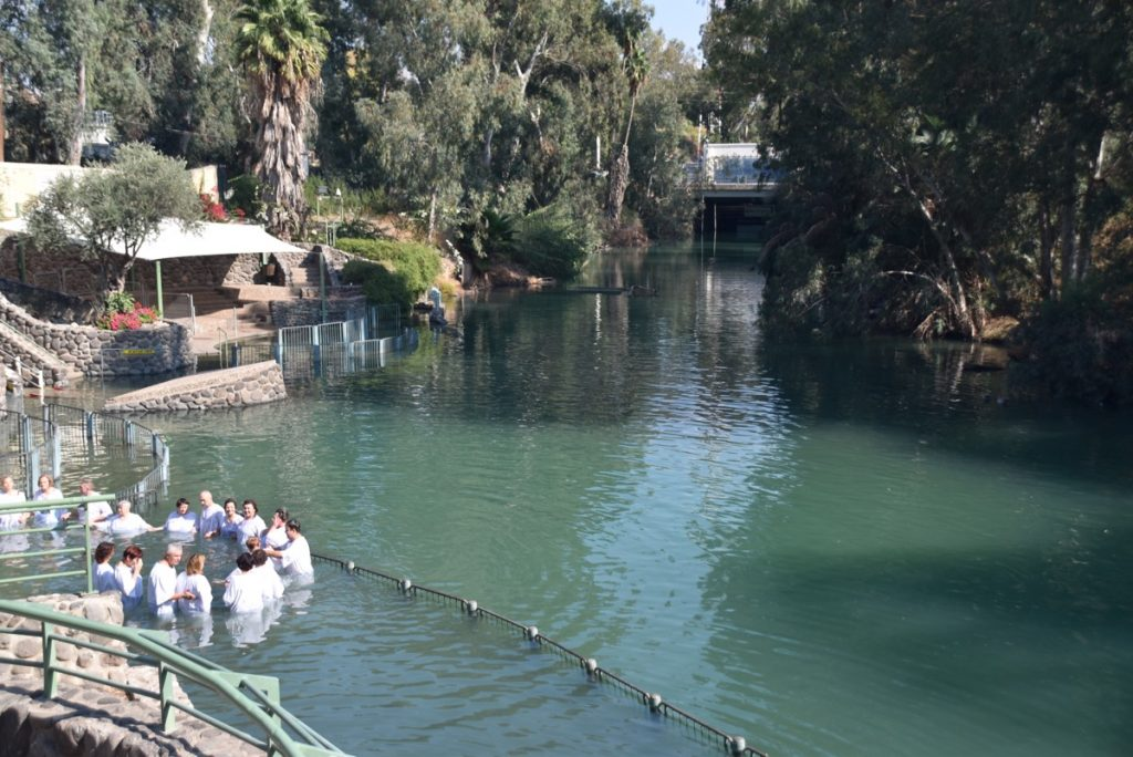 Jordan River baptism November 2018 Israel Tour with John DeLancey
