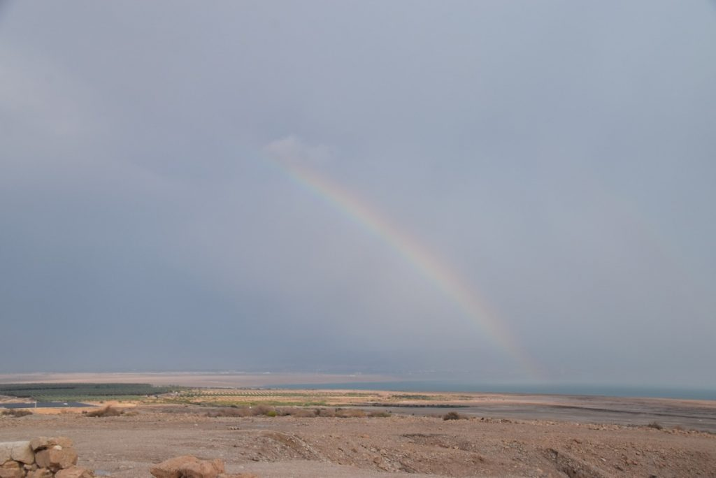 Qumran flash flood rainbow Israel Tour Nov 2018 John DeLancey
