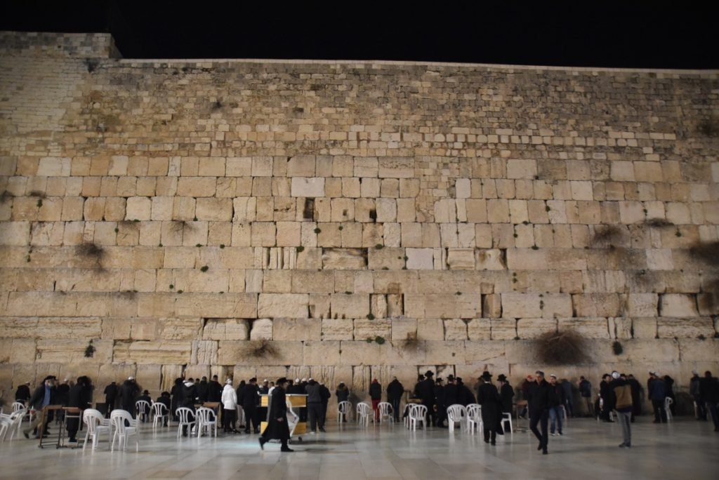 Western Wall at night Feb 2019 Israel Tour with John DeLancey