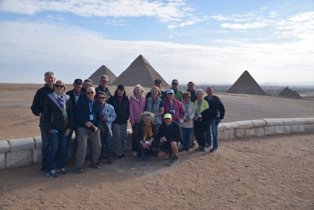February 2019 Israel Tour Group with John Delancey, Giza pyramids