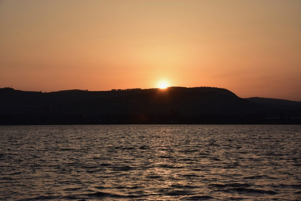 Sunset sea of Galilee March 2019 Israel Tour with John DeLancey