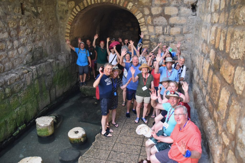 Hezekiah Tunnel June 2019 Israel Tour Group with John DeLancey