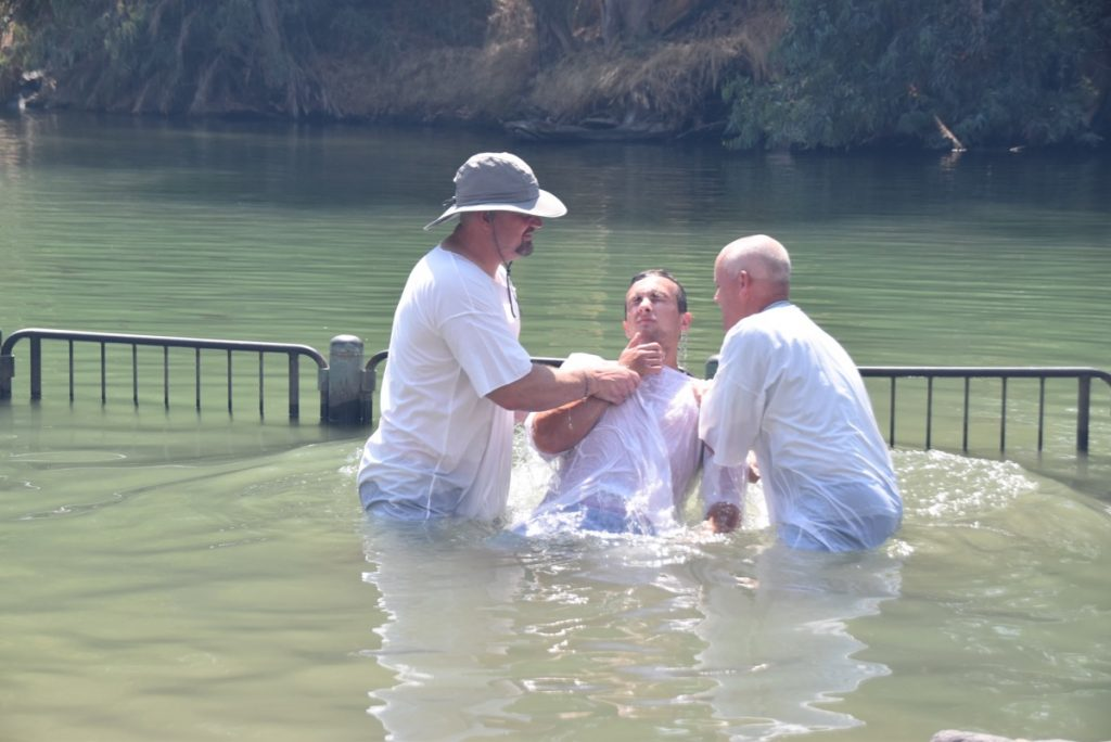Jordan River baptism June 2019 Israel Tour with John DeLancey