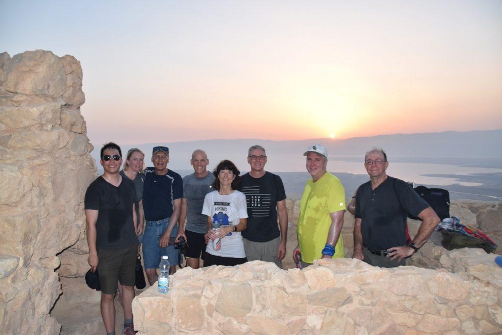 Masada sunrise June 2019 Israel Tour Group with John DeLancey