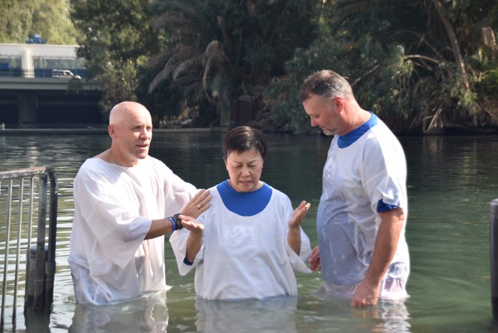 Yardenit Jordan River Baptism November 2019 Biblical Israel Tour with John DeLancey