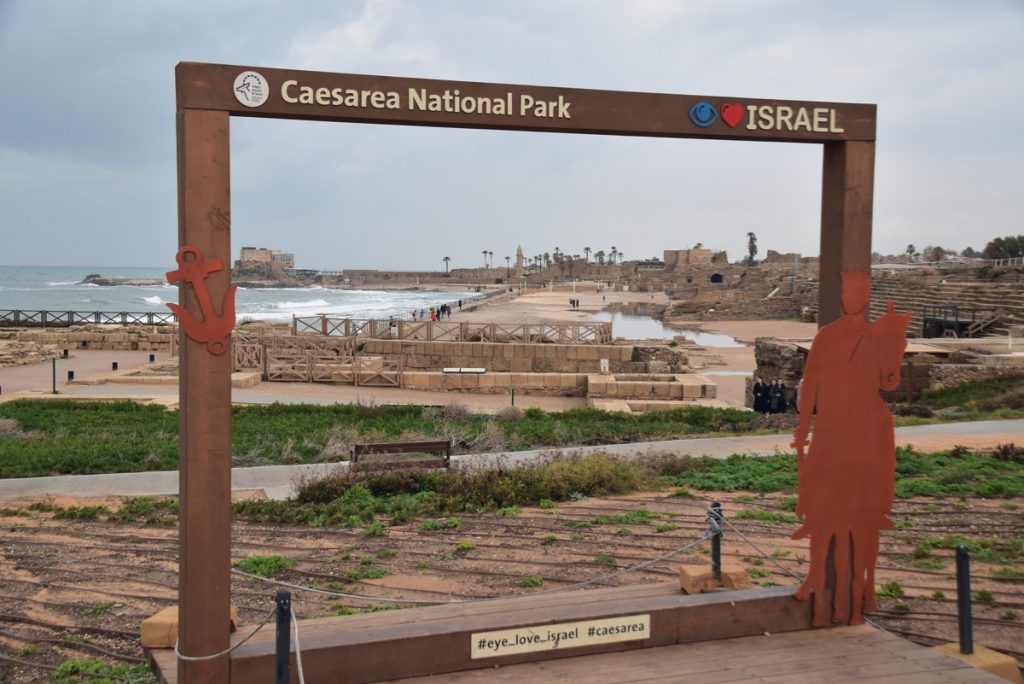Caesarea Jan 2020 Israel Tour Group with John DeLancey & BIMT