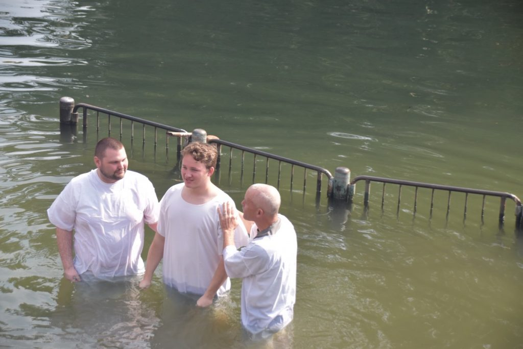 Jordan River baptism Feb 2020 Israel Tour with John DeLancey
