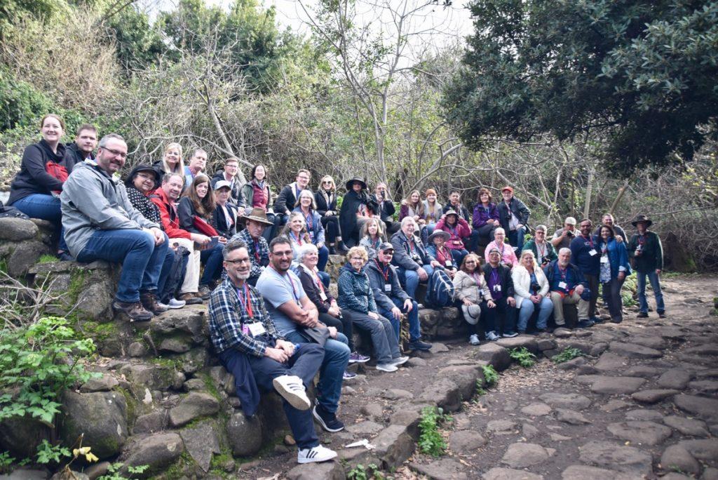 Tel Dan Feb 2020 Israel Tour Group, with John DeLancey